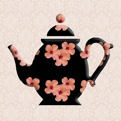 Hibiscus Pattern Teapot Poster
