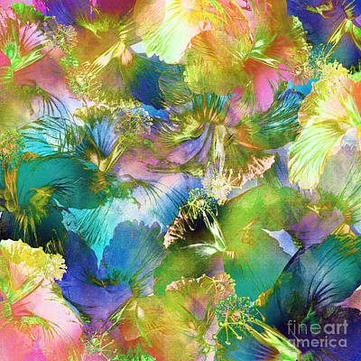 Poster featuring the digital art Hibiscus Trumpets by Klara Acel