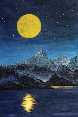 Hidden City - Mountain And Moon Landscape Poster by Rayanda Arts