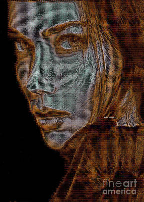 Poster featuring the digital art Hidden Face In Sepia by Rafael Salazar