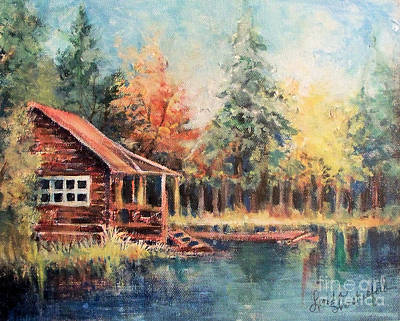 Poster featuring the painting Hide Out Cabin by Linda Shackelford