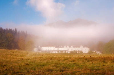Hiding In The Fog. Loch Achray Hotel. Trossachs. Scotland Poster