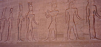Hieroglyphics And Carvings On The Wall Of Temple Of Edfu Poster
