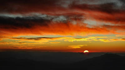 Poster featuring the photograph High Altitude Fiery Sunset by Joe Bonita