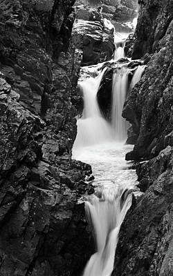 High Falls Gorge Black And White Poster