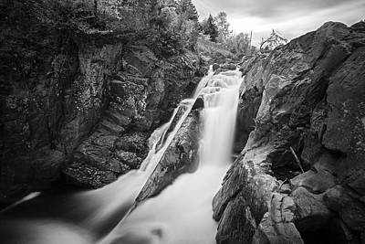High Falls Gorge Wilmington Ny New York First Waterfall Black And White Poster