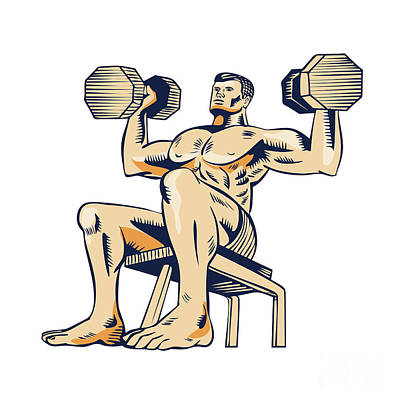 High Intensity Interval Training Dumbbell Etching Poster by Aloysius Patrimonio