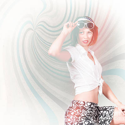 High-key Fashion Photograph Of A Funky Pinup Girl  Poster by Jorgo Photography - Wall Art Gallery