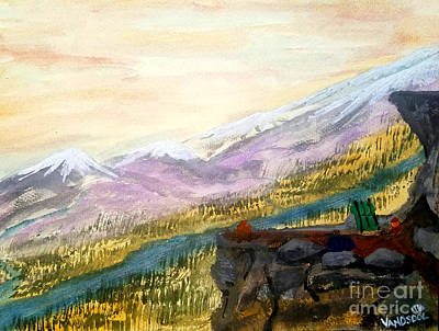 High Mountain Camping - Original Watercolor Poster