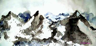 Poster featuring the painting High Mountain Peaks by Carol Grimes