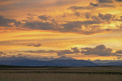 High Plains Meet The Rocky Mountains At Sunset Poster