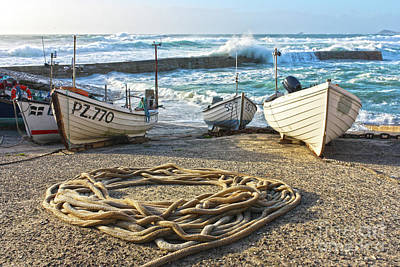 High Tide In Sennen Cove Cornwall Poster by Terri Waters