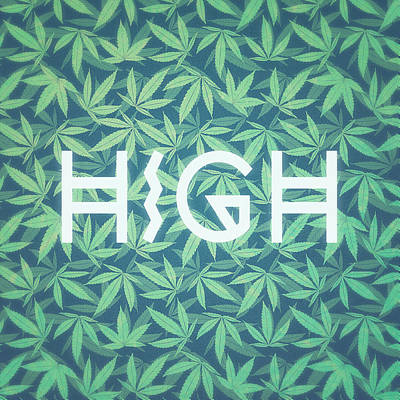 High Typo  Cannabis   Hemp  420  Marijuana   Pattern Poster by Philipp Rietz