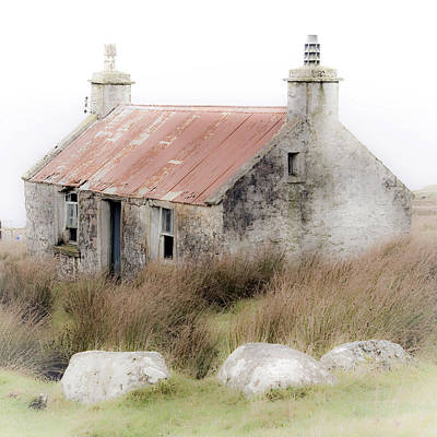 Highland Cottage In The Mist Poster by John McKinlay