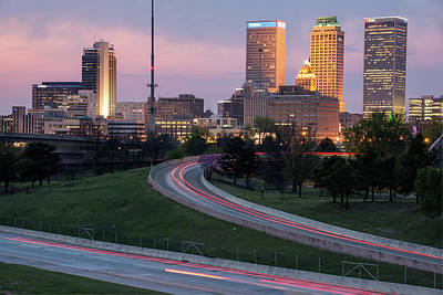 Poster featuring the photograph Highway To The Tulsa Oklahoma Skyline by Gregory Ballos