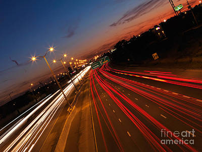 Highway Traffic During Sunset Poster by Oleksiy Maksymenko