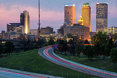 Poster featuring the photograph Highway View Of The Tulsa Skyline At Dusk by Gregory Ballos