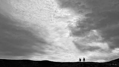 Poster featuring the photograph Hikers Under The Clouds by Joe Bonita