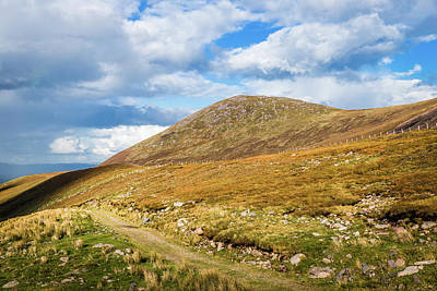 Hiking Trail Across The Mountain Range In County Kerry Poster by Semmick Photo