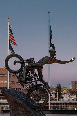 Poster featuring the photograph Hill Climber Catches The Moon by Randy Scherkenbach