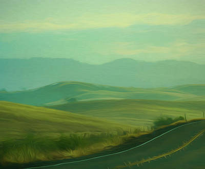 Hills In The Early Morning Light Digital Impressionist Art Poster