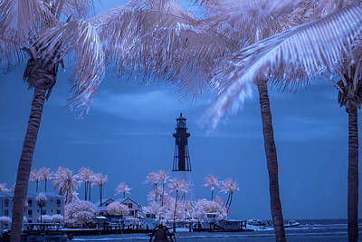 Poster featuring the photograph Hillsboro Inlet Lighthouse Infrared by Louis Ferreira