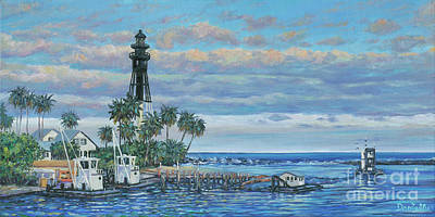 Hillsboro Lighthouse Dredge Poster by Danielle Perry