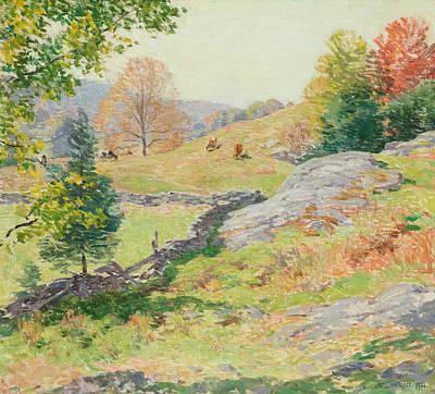 Hillside Pastures - September Poster by Willard Leroy Metcalf