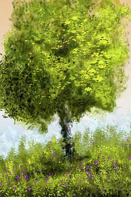 Poster featuring the digital art Hillside Tree by Barry Jones