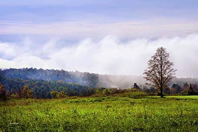 Hilltop Fog Sunrise Landscape Poster