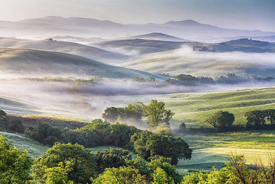 Hilly Tuscany Valley At Morning Poster