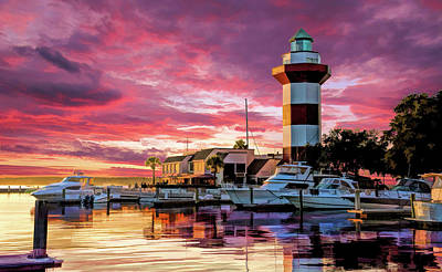 Poster featuring the painting Hilton Head Harbour Town Lighthouse by Christopher Arndt