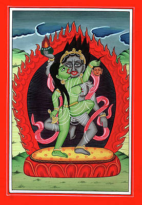 Hindu God Shiva Shakti Tantrik Tantra Painting Miniature Watercolor Art Poster by A K Mundra