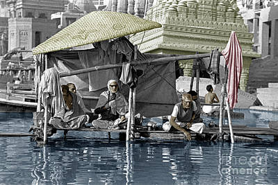 Hindu Holy Men On The Ganges - Vernasai, India Poster by Craig Lovell