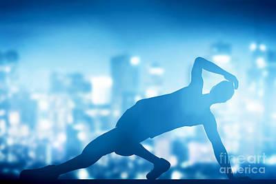 Hip Hop Break Dance Performed By Young Man In City Lights Poster by Michal Bednarek