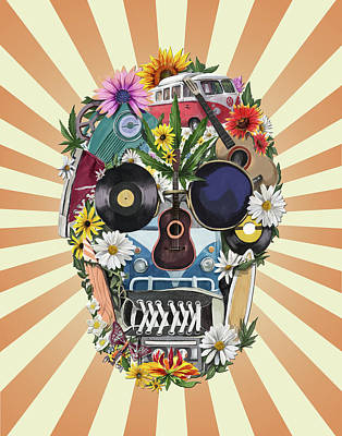 Hippie Retro Skull 2 Poster by Bekim Art