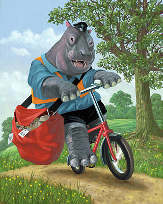Hippo Post Man On Cycle Poster by Martin Davey