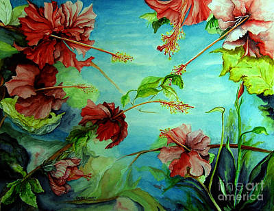 Poster featuring the painting Hiroko's Hibiscus 4 by Rachel Lowry