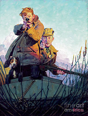 His First Duck Poster by Norman Rockwell