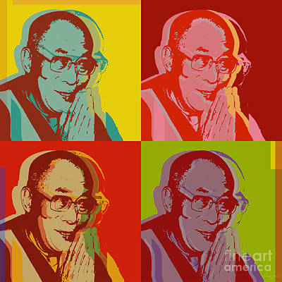 Poster featuring the digital art His Holiness The Dalai Lama Of Tibet by Jean luc Comperat