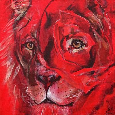 His Sweetness Lion Rose Poster by Elizabeth Lachmann