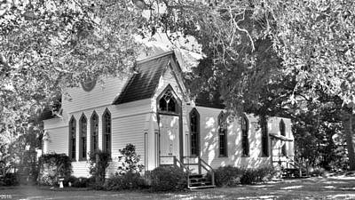 Historic Andrews Memorial Chapel Dunedin Florida Black And White Poster by Lisa Wooten