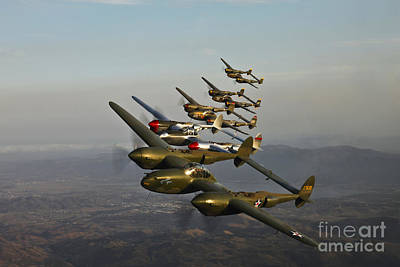 Historic Flight Of Five Lockheed P-38 Poster by Scott Germain