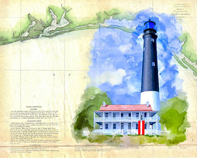 Historic Florida Panhandle - Pensacola Poster by Mark Tisdale