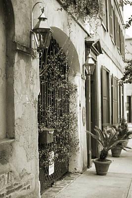 Historic Home Wrought Iron Gate Charleston Sepia Poster