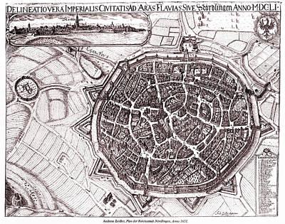 Historic Map Of Nordlingen, Germany In 1651 Poster