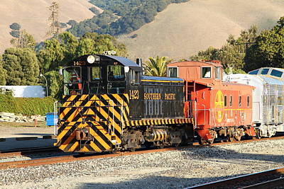Historic Niles Trains In California . Old Southern Pacific Locomotive And Sante Fe Caboose . 7d10821 Poster