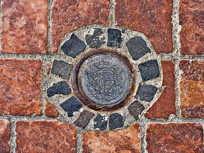 Historic Pavement Detail With Hungarian Town Seal Poster