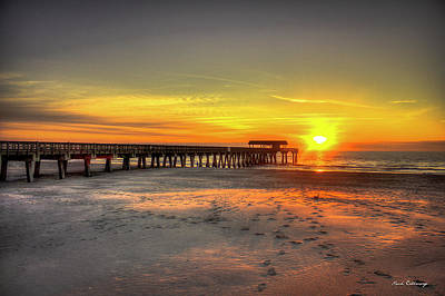 Historic Pier Tybee Island Sunrise Art Poster