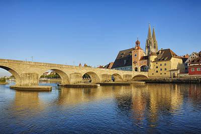 Historic Regensburg With Danube River Poster by Martin Ruegner